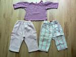 Vel. 68 -  74. Tričko bavlna  - 50 Kč, růžové kalhoty silnější fleece - 40 Kč, kostkované jsou z lehkého materiálu - 50 Kč