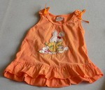 Oranžové šaty s kanýrem a zvířátkovou výšivkou na hrudi. Bez rukávů, směs bavlny a polyesteru. Uvedená velikost L, čímž chtěl básník říci
