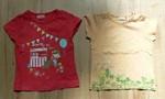 Dvě dívčí trička s obrázky. Bavlněná, vel. 86. Červené  zn. Cherokee, oranžové zn. Mexx. 40 Kč/ks, 70 za obě.
