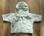 Bílý flísový kabátek s výšivkou, vel. newborn. Zn. Next.