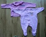 Růžový overal, vel. 0 - 3 měs. + tričko s dlouhým rukávem. Obojí bavlna.